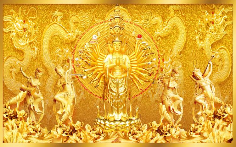 Grosshandel Gold Buddha Fototapete Custom 3d Wandmalereien Avalokitesvara Tapete Schlafzimmer Wohnzimmer Buro Kunst Raumdekor Dekoration Drachen Von Fashion In The Box 19 62 Auf De Dhgate Com Dhgate