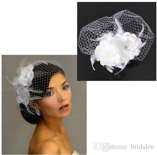 2015 Hot Sale Bird Cage Net Women Wedding Bridal Fascinator Face Veil Feather White Flower with Comb Dress Fashion Accessories