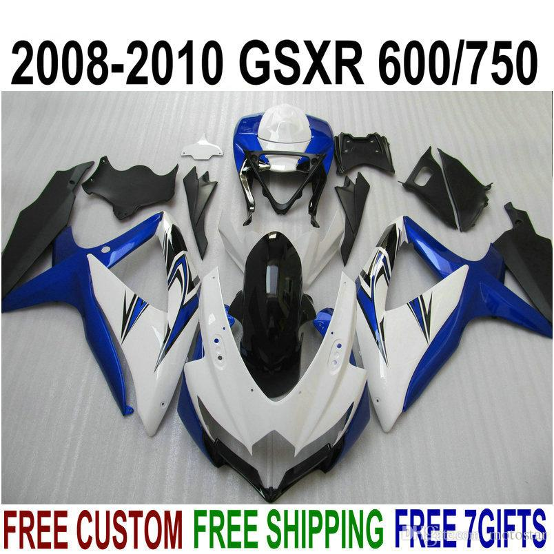 Fairing kit for SUZUKI GSX-R750 GSX-R600 2008 2009 2010 K8 K9 fairings GSXR 600 750 08-10 blue white black bodykits TA86