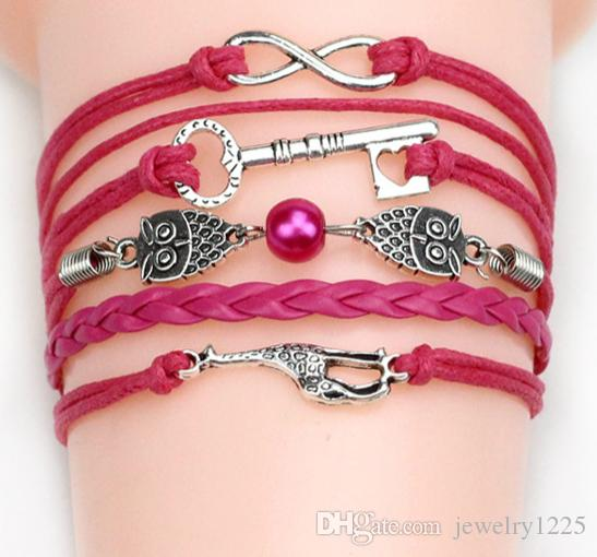 54 estilos de moda cruz infinito vintage charme pulseiras âncora handmade trançado pulseiras de couro multy estilos