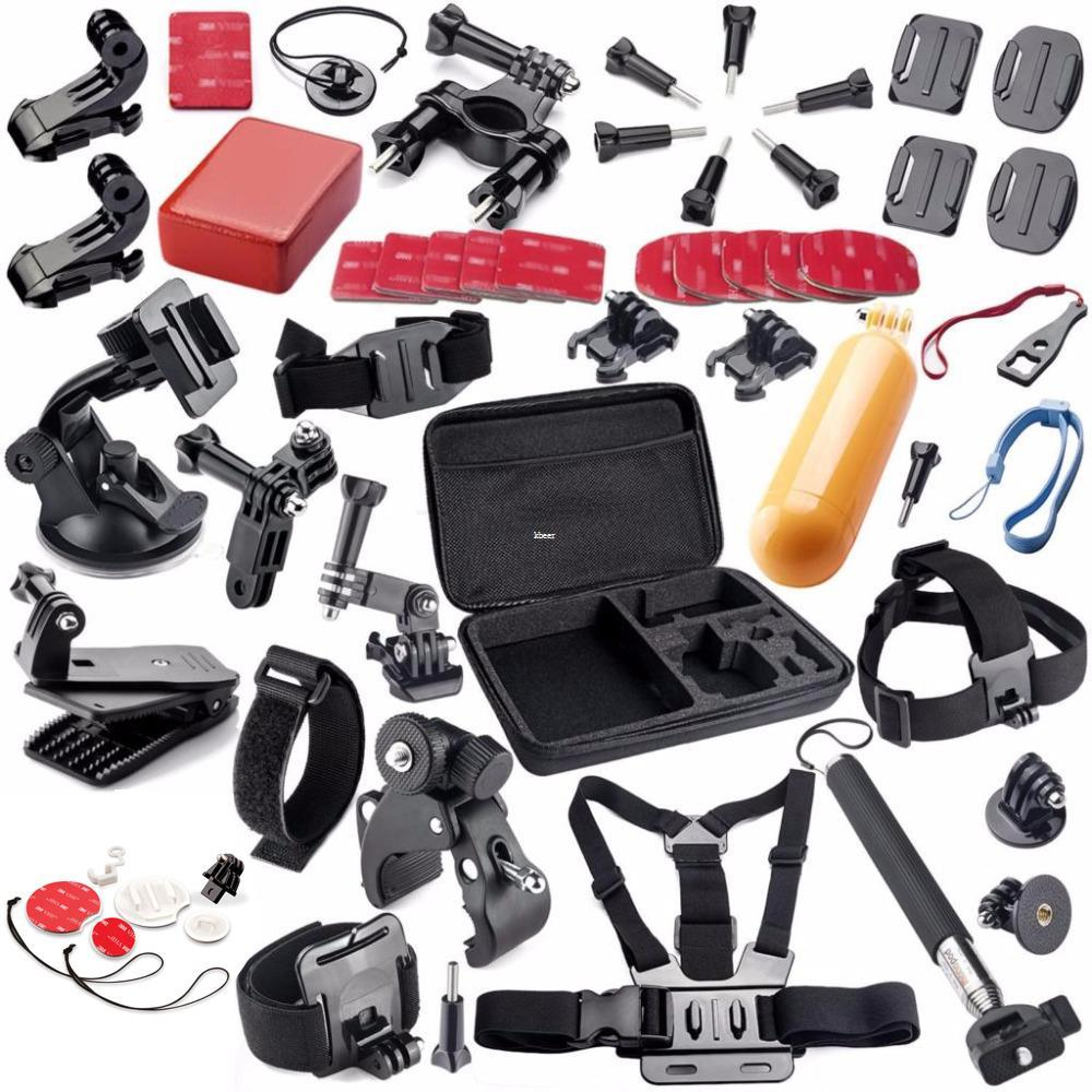 Freeshipping Camera Accessories Set For GoPro HERO 5 4 3 SJCAM SJ4000 Xiaomi Yi 4K Go Pro Large Case Float Grip Suction Cup Strap Mount