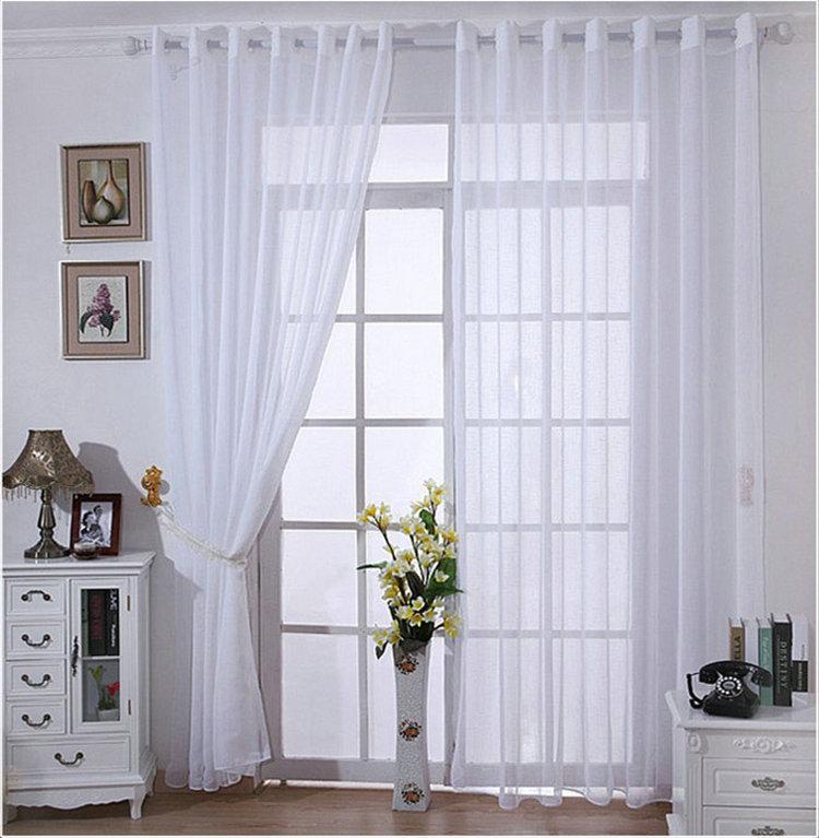 Wholesale ! One Panel Modern Solid White Bedroom Linen Sheer/Tulle