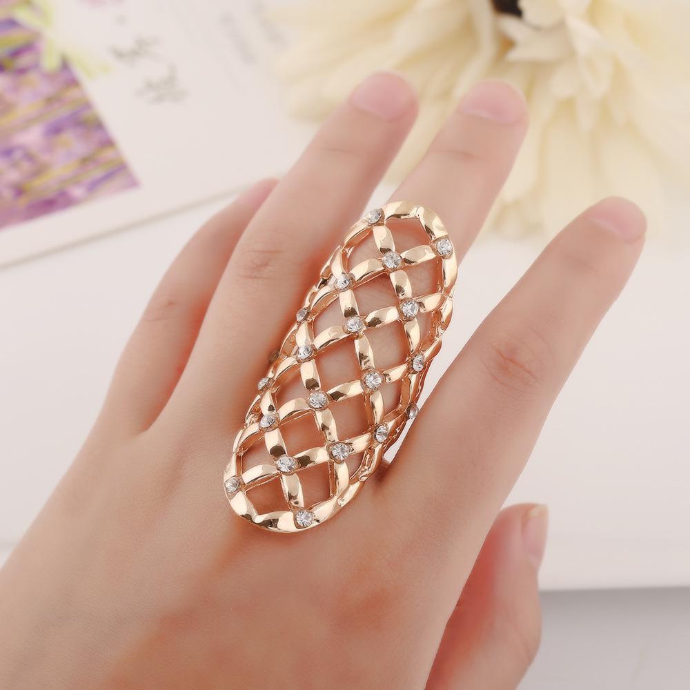 Vendita calda squisita CZ anelli di diamanti hollow modelli geometrici anelli dito chiodo anelli donne gioielli dichiarazione 2 colori W933