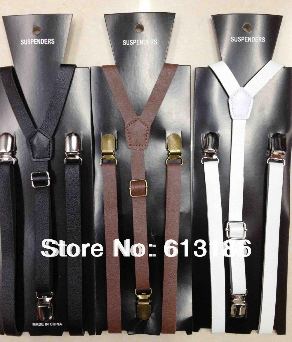 Frete grátis 2014 novos estilos de moda mulheres / homens 1 .5CM Wide Skinny preto PU couro suspensórios, chaves de couro ajustável