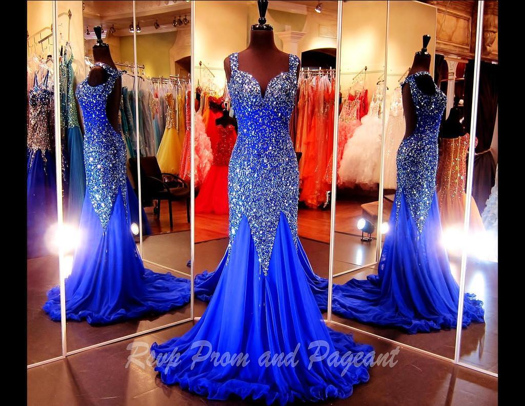 Charmante Paillettes De Perles De Cristal Sirène Royale Bleu Bleu Robes De Soirée De Luxe Dos Nu Sexy Pageant De Bal Robes De Bal Sans Manches En Organza Chic
