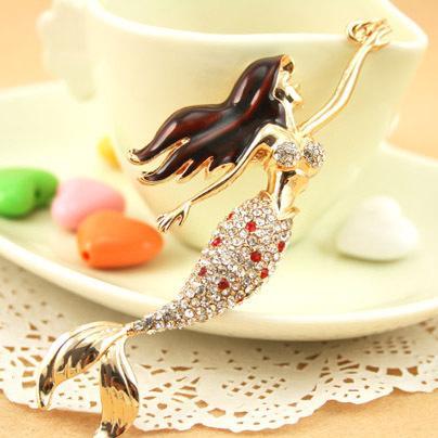 Transporte da gota strass Sea-maid sereia chaveiros para o anel da mulher, bolsa / bolsa encantos, presente, Real banhado a ouro liga chaveiro, frete grátis