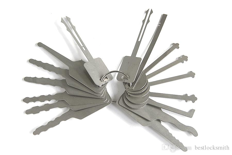 16pcs / lot jiggler 키 잠금 고정 도구 잠금 선택 잠금 장치를위한 더블 양면 잠금 픽업 도구