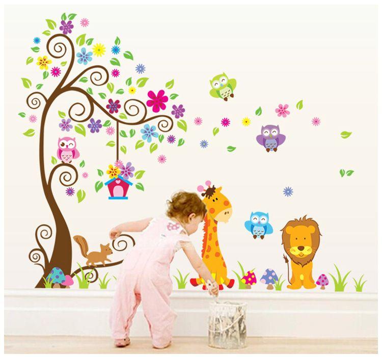 Excellent Kids Room Nursery Pvc Wall Art Sticker Owl Lion Giraffe Flower Tree Wall Decal Decor Home Wallpaper Decor Stickers Wall Stickers Children Wall Home Interior And Landscaping Oversignezvosmurscom