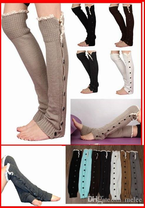 DHL Fedex 60 pairs/lot Fashion Leg Warmer Button Crochet Knit Boot Socks Toppers Cuffs for Girls Lady woman 6 color U pick