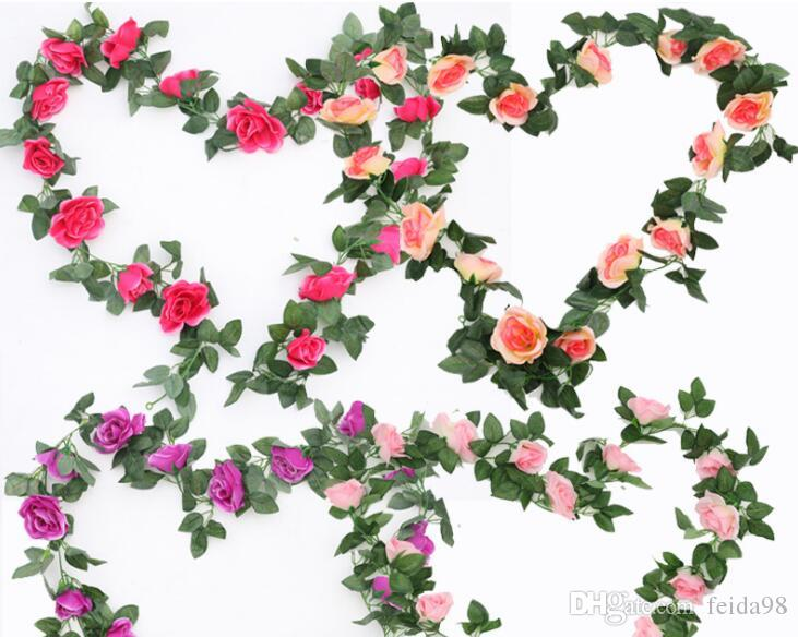 16 heads of simulated roses, rattan, leaves, rattan, plastic flowers, rattan ornaments, green leafy vines, diamonds, rose canes, 12pcs/lot