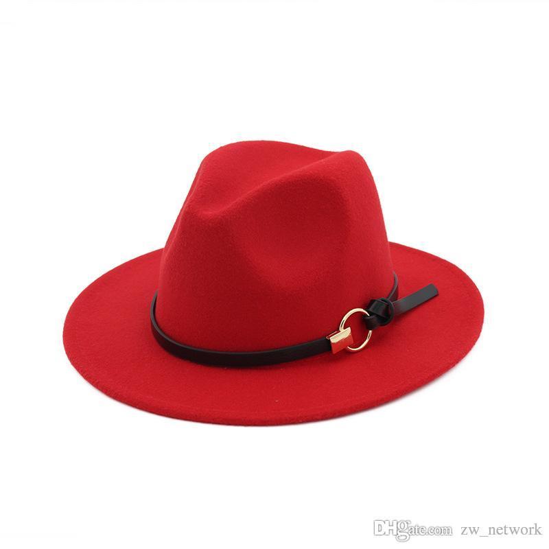 Nouvelle mode en feutre chapeaux de jazz Classique TOP chapeaux pour hommes femmes Élégant solide en feutre Fedora Hat Band Large Bord Plat Élégant Trilby Panama Caps