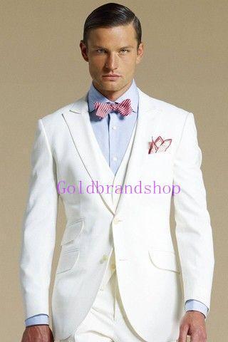 Brand New Notch Lapel WhiteTailcoat Trim Fit Groom Tuxedos Men's Wedding Dresses Prom Clothing Custom Made(Jacket+pants+Vest)NO366