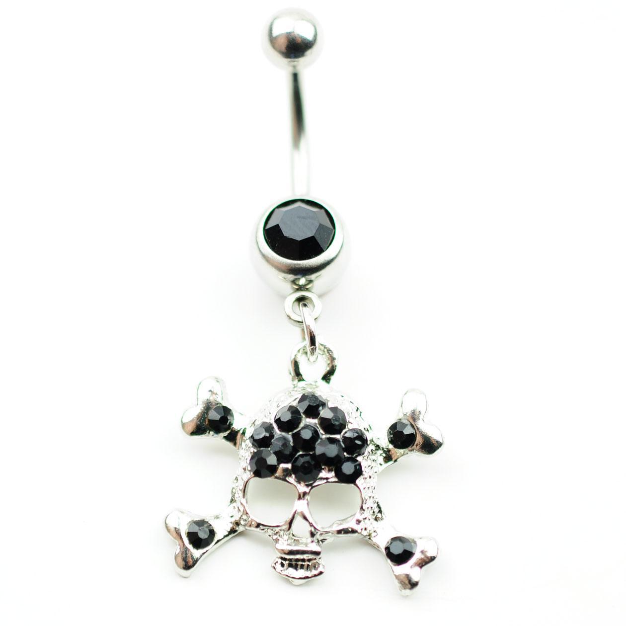 D0156 (3 colori) Il cranio stili 059-01 penetrante ornamenti per il corpo del tasto di pancia degli anelli con i colori chiari e nero