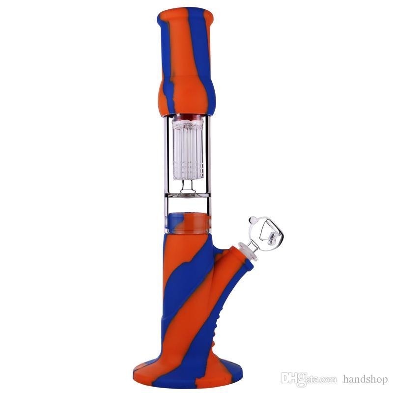Cookahs Silicone Bongs 14 дюймов 8 оружия перколятор воды воды 18,8 / 14,4 мм совместный стеклянный бонг