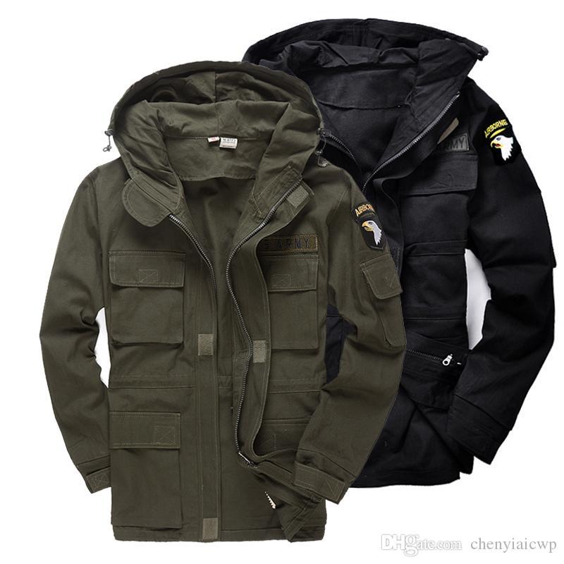 أزياء الرجال نمط العسكرية التكتيكية سترات للرجال طيار معطف الجيش الأمريكي 101 سلاح الجو منفذها سترات معطف كبير الحجم