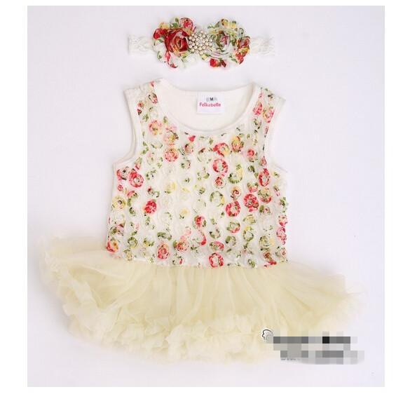 10٪٪ 2015 جديد وصول! رخيصة بيع طفلة الوليد الأزهار الأميرة توتو اللباس، لطيف اللباس ملابس الأطفال، 3PCS اللباس + 3 قطع هيرباند، 6PCS / L