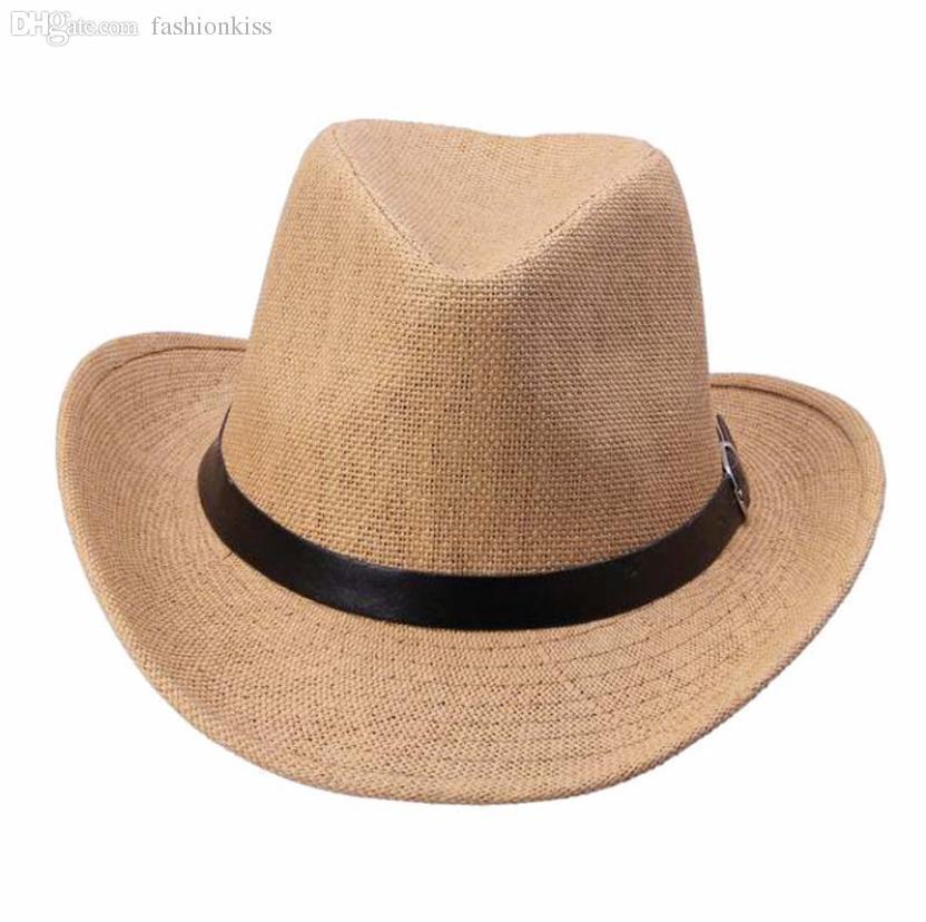 도매 현대 여름 남자 밀짚 모자 카우보이 모자 Jan04
