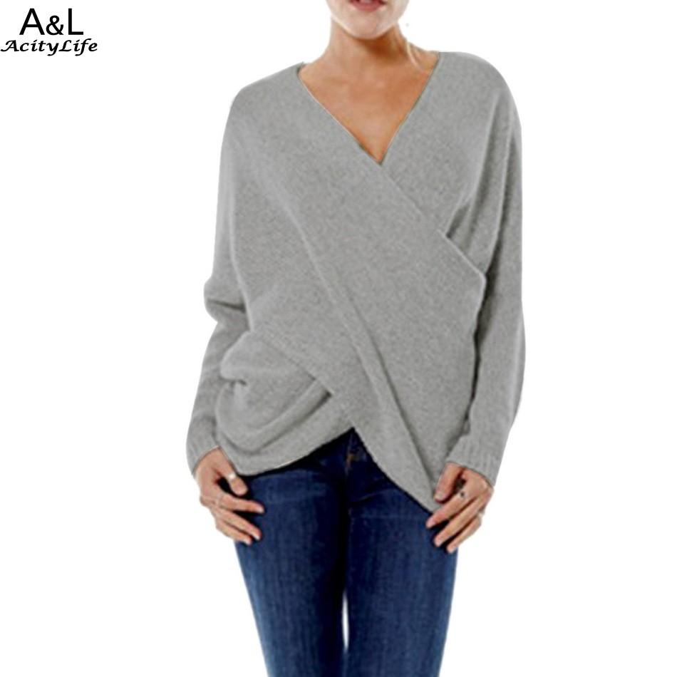 Wholesale- Women Sweater Pullover 2016 Lady Autumn Winter Knitted Sweater Sexy V Neck Irregular Jumper Women Tops
