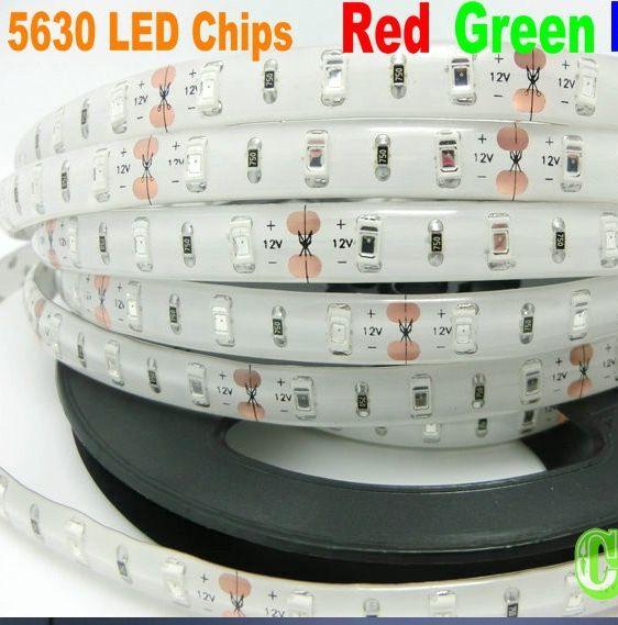 IP65 Wodoodporna SMD 5630 LED Strip Light LED Stripe Elastyczne Lekkie Taśmy Wstążka Cool White, WarmWhite Blue, Green, Red