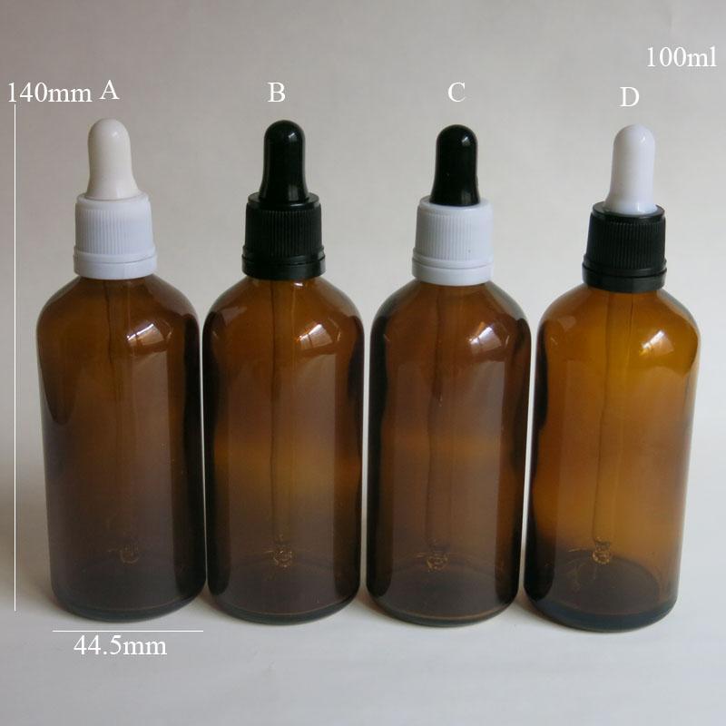 도매 10 Pcs / Lot 100ML 앰버 유리 시약 액체 피펫 병 아이 dropper 드롭 아로마 테라피 빈 병