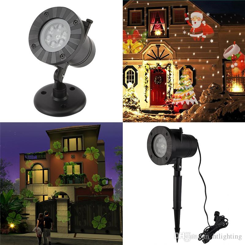 24pcs Holiday Party Decor Waterproof Outdoor LED Stage Lights 12 Types Christmas Snowflake Projector lamp Home Garden Lawn Star Lights