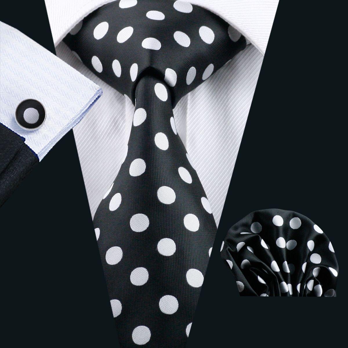 Snelle verzending Black Tie Witte Dot Mens Tie Pocket Square Manchetknopen Set 8.5cm Meeting Business Casual Party Stropdas Jacquard Woven N-1190