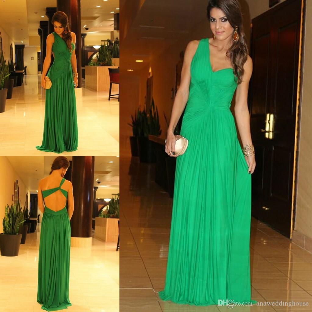 Dark Green Cheap Prom Dress Sexy One Shoulder Formal pagent Dresses backless Vestidos de festa Formal Evening Gowns