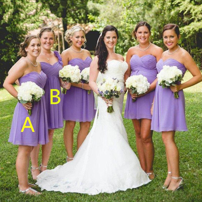 Lavendel Korte Land Bruidsmeisje Jurken Goedkope Sweetheart Plooien Chiffon Boven Knielengte Paars Bruidsmeisjes Formele Jurk