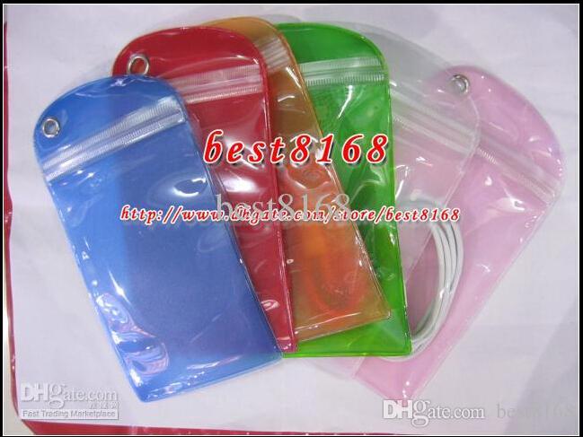 Étanche fermeture éclair en plastique sac de vente au détail pour batterie USB cas de la peau cas de peau emballage emballage doux transparent mat emballage transparent