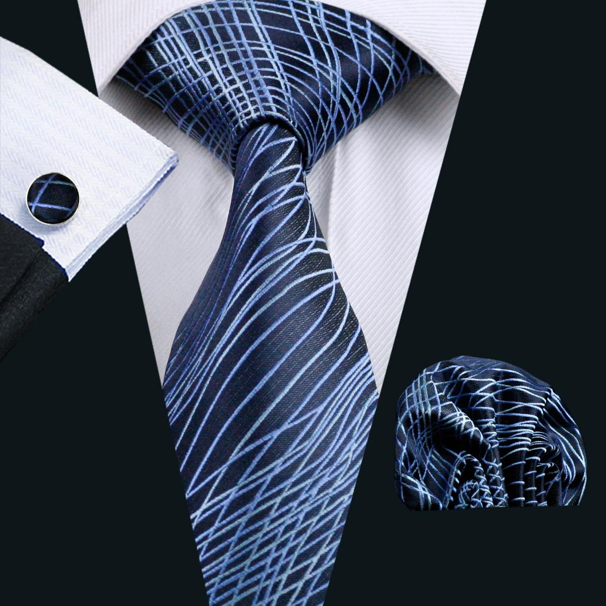Nieuwe mode blauwe zijde heren stropdas hankerchief manchetknopen set vergadering casual party stropdas jacquard geweven n-1086