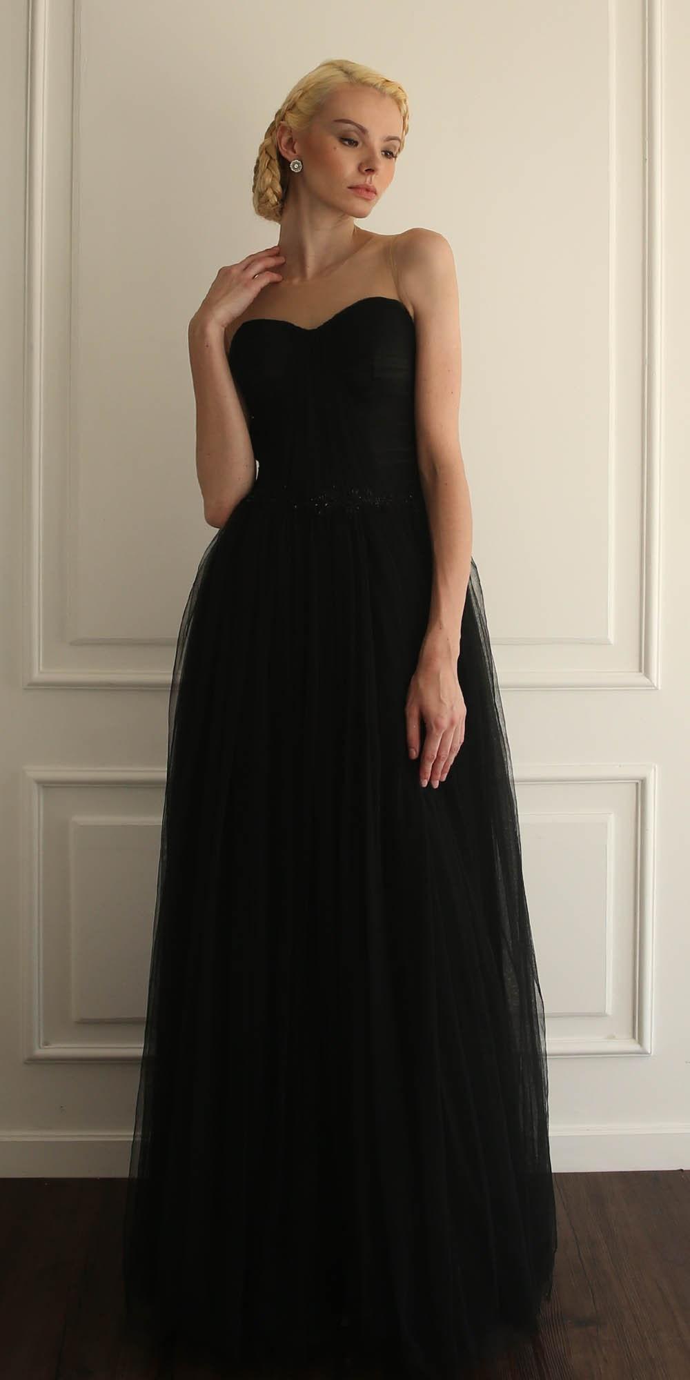 Elegante noche de tul escarpada manga capsulada Negro Una línea de vestidos de fiesta hasta el suelo Hecho en China Sparking Vestidos de baile