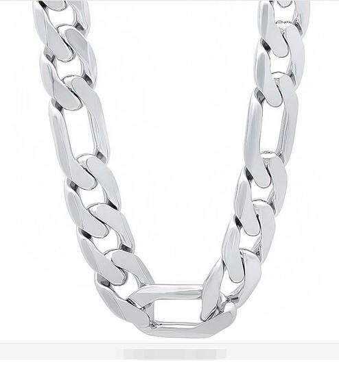 "HOT SALE 925 sterling silver 12MM MEN Figaro CHAIN NECKLACE Length:20"",22"",24"",26"" Free shipping ,925 silver chain necklace JEWELRY 20pcs"