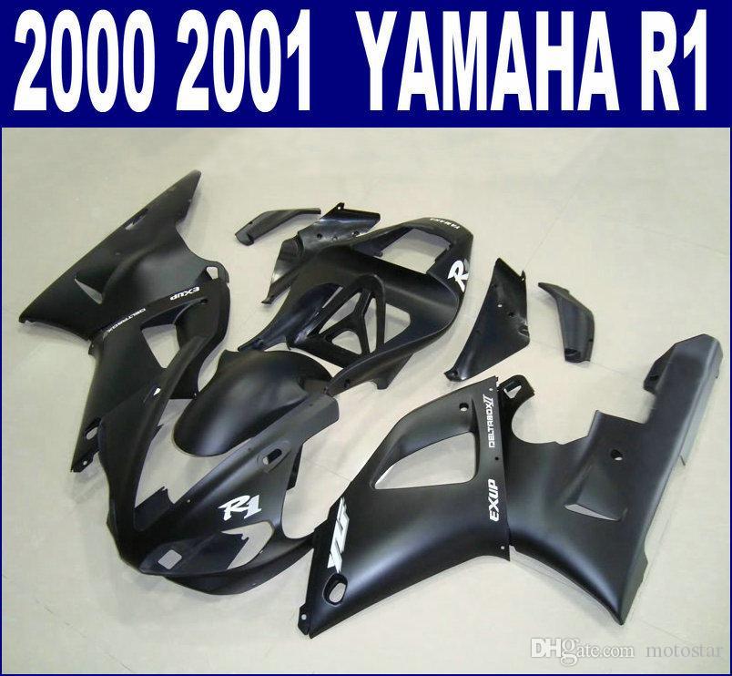 YAMAHA 2000 2001 YZF R1 용 무광택 검정색 페어링 키트 YZF1000 00 01 RQ11 + 7 개 선물