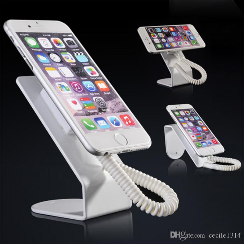 10pcs Metallic cell phone display stand holder for mobile phone security display system anti theft retail shop with retractable pull wire