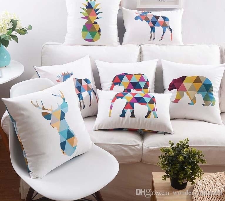 Color Animals Elephant Deer Cushions Geometric Art Pineapple Pillow Case Nordic Style Home Velvet Sofa Throws Cushion Cover 45x45cm, 30x50cm