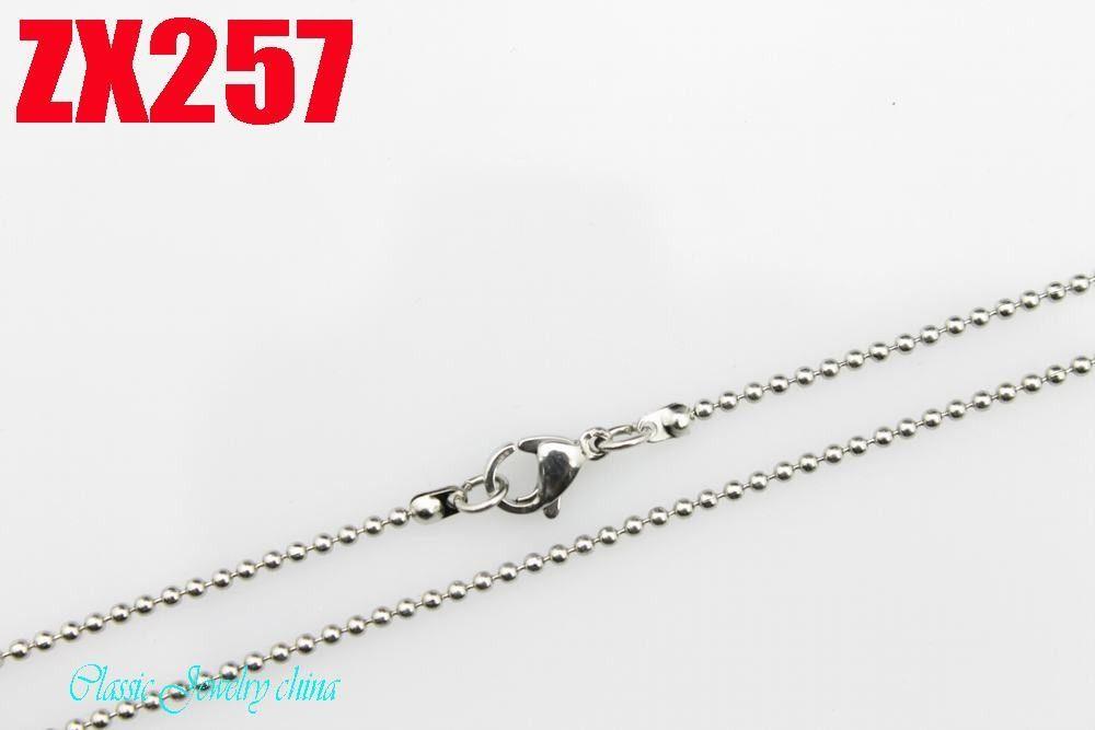 KUNAFIR promozione venditore catene in acciaio inox perline collane layd 20pcs per lotto CALDO alta qualità 1.5mm catena a sfere 16 '' - 34 pollici ZX257