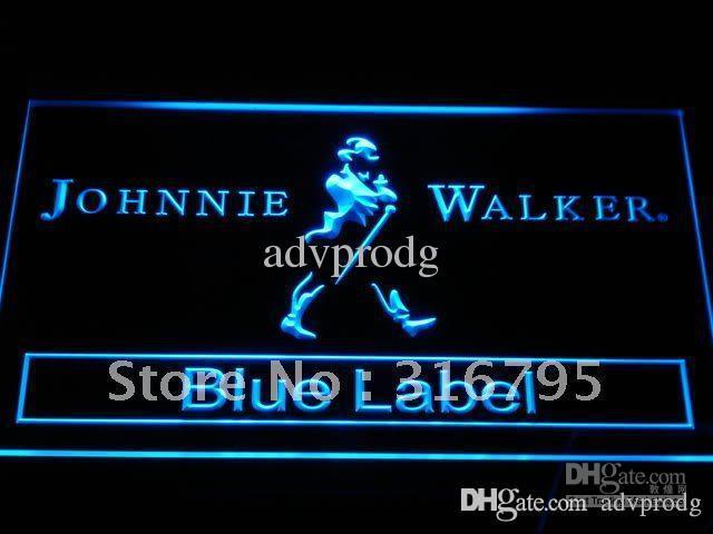 a147-ب جوني ووكر بلو ليبل بار NR ضوء النيون تسجيل