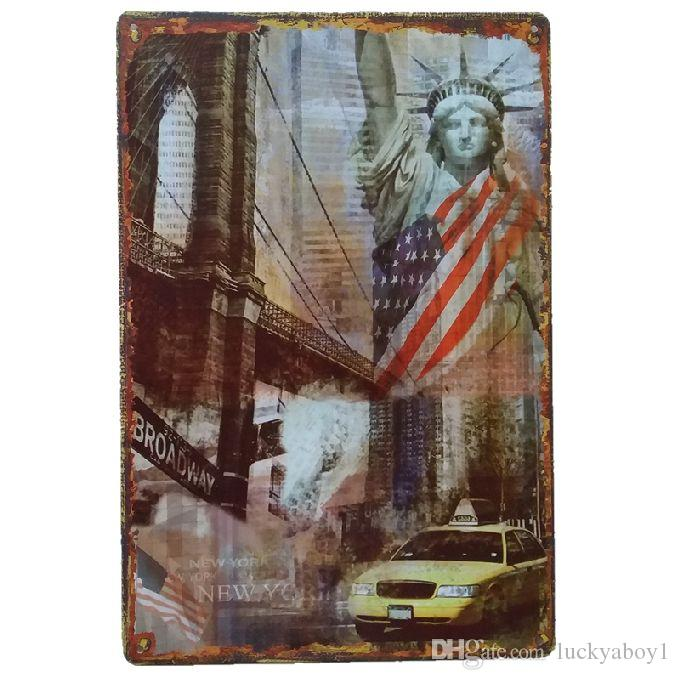 the Statue of Liberty USA Vintage Home Decor Retro Tin Sign Rustic Metal Plaque Cool Metal Plate Metal Poster