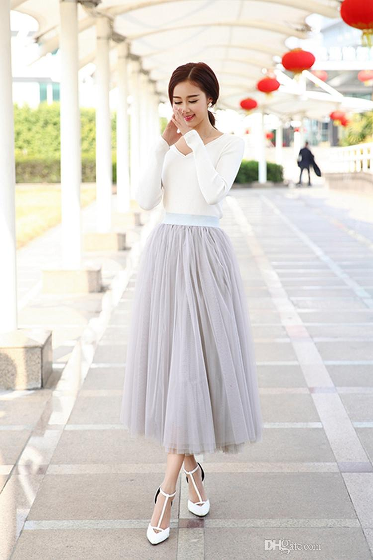 2015 Knee Length White Tulle Tutu Skirts For Adults Custom Made A Line Ball Gown
