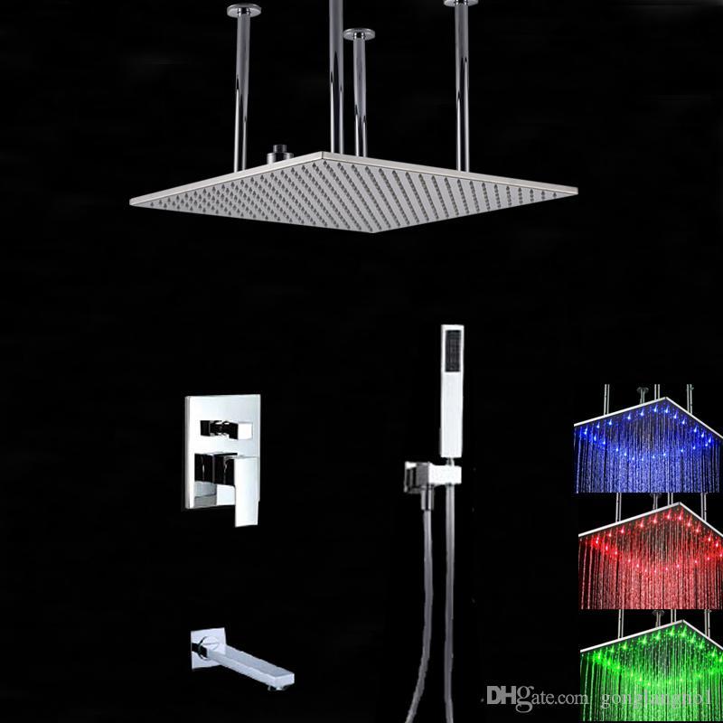"""Оптом и в розницу LED 20 """" Большой потолок установлен квадратный дождь насадка для душа с одной ручкой клапан смеситель кран ванна кран ручной душ"""