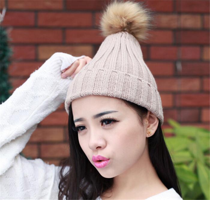 HOT Fashion Women Cap Beanie Classic Tight Knitted Fur Hat Winter Beanie Headgear Head Warmer christmas gift D472