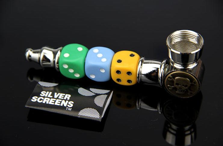 Wholesale free shipping ---- 2015 new metal dice colored skull shape pipe, sending filter, easy to carry, color random delivery