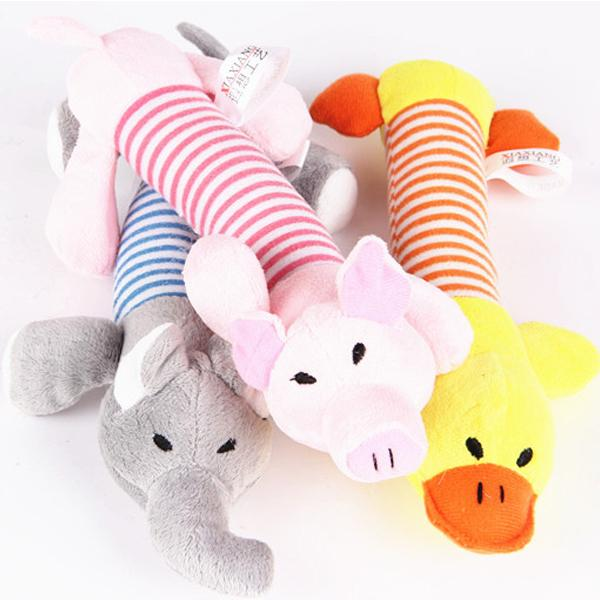 Cute Kids Toy Puppy Plush Sound Pig Elephant Duck Chew Squeaker Squeaky Toys New Arrival
