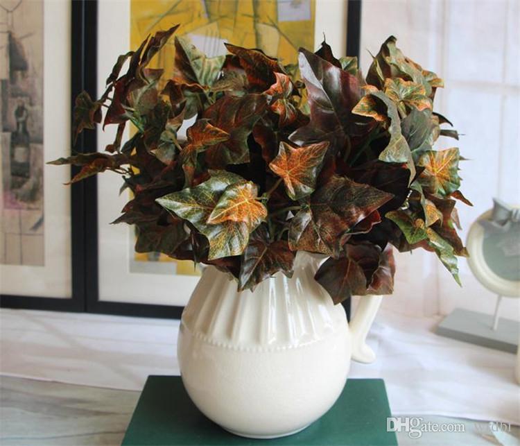 """Hoja de otoño de seda CALIENTE Planta de hoja 30cm / 11.81 """"Longitud 24 piezas de flores artificiales Plantas 4 tallos por manojo para la boda Centro de mesa"""
