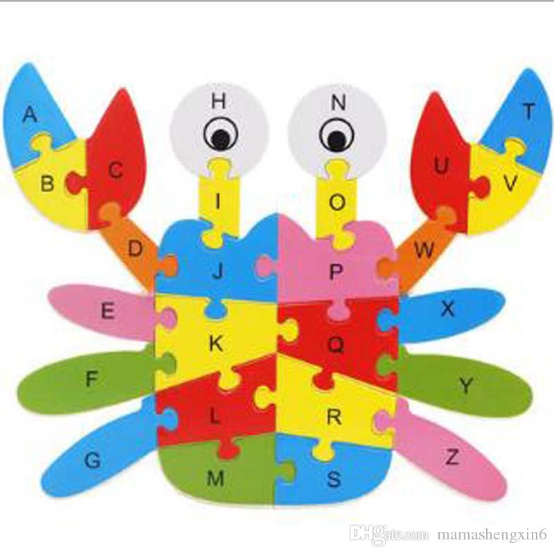 New Early childhood education puzzle cartoon animals 26 alphabet puzzle pieces of building blocks cognitive wooden toys