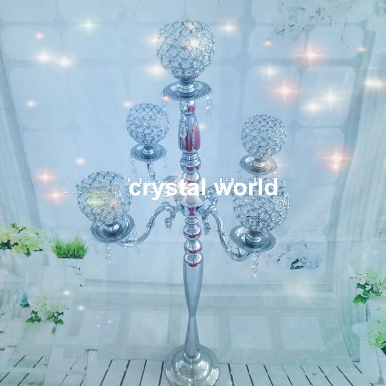 Оптовая, элегантный щепка 5arms высокий свадебный хрустальный шар канделябры центральным, подсвечник для свадебный стол центральным