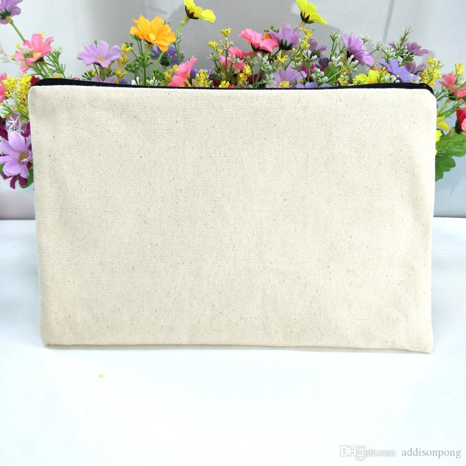 40pcs/lot plain natural light ivory color pure cotton canvas coin purse with black zipper matching color lining blank canvas zip pouch