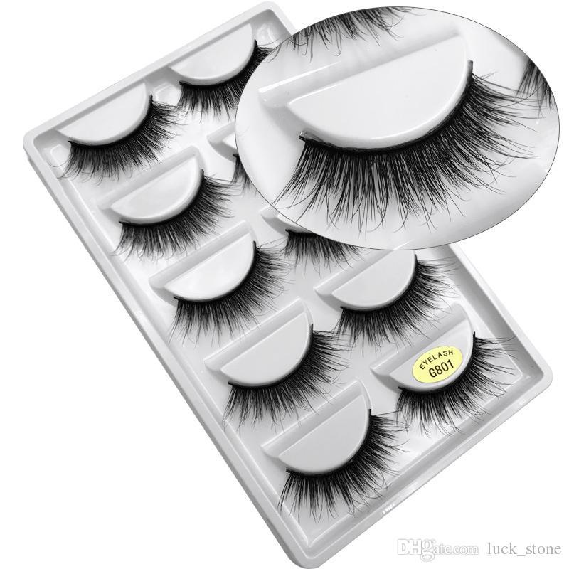 34 design mink 3d hair Hand-made eyelashes 5 pairs pack in plastic case multilayer crisscross thick False eyelashes OEM order