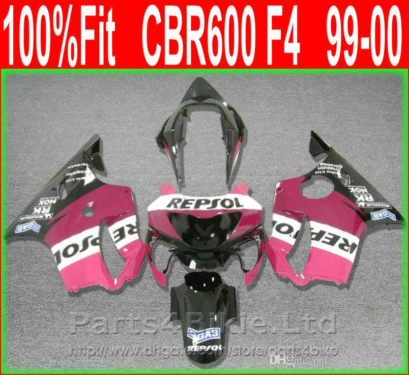 Pink REPSOL Body parts for Honda fairing CBR 600 F4 1999 2000 Injection Mold fairings kit CBR600 F4 99 00 VTDS