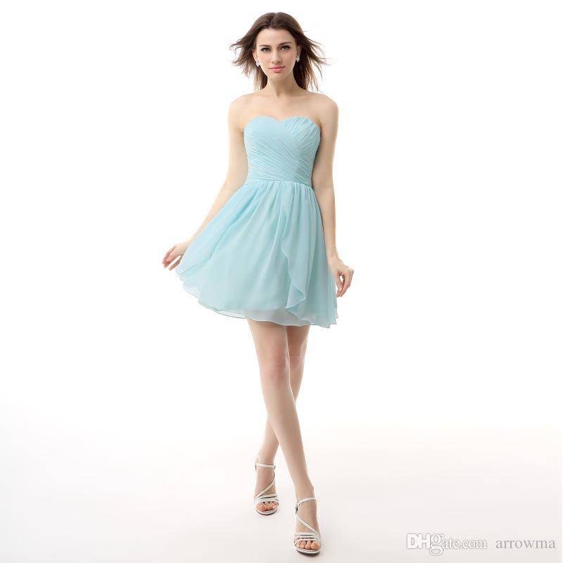 2016 Short A Line Junior Bridesmaid Dresses Cheap modest Custom Made ...